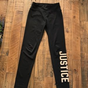 Justice size 10 black and gold leggings